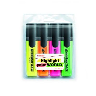 Набор текстовых маркеров Highlighter (4шт) E-345/4/SE