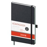 Книга записная Компаньон, черный А5, 192 лист. (клетка)