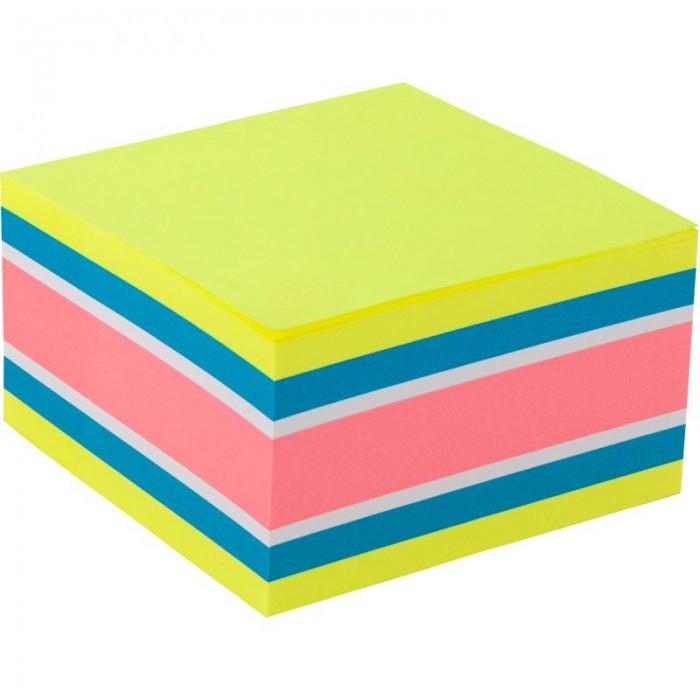 Блок бумаги с липким слоем, 75x75 мм, 450 листов. Ассорти цветов. Плотность 75 г/м2.