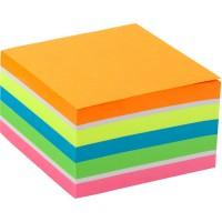 Блок бумаги с липким слоем, 75x75 мм, 450 листов. Ассорти неоновых цветов. Плотность 75 г/м2.