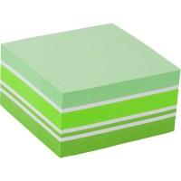 Блок бумаги с липким слоем, 75x75 мм, 400 листов. Ассорти пастельных зеленых цветов. Плотность 75 г/м2.