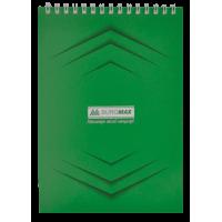 Блокнот А5, 48 листов (верхняя спираль) Jobmax, зеленый