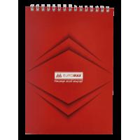 Блокнот А5, 48 аркушів (верхня спіраль) Jobmax, червоний