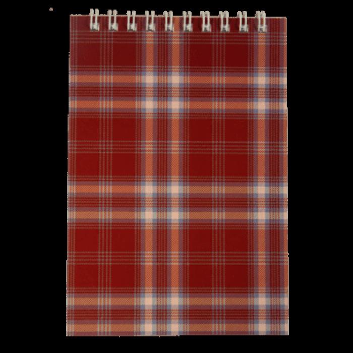 Блокнот А6, 48 листов (верхняя спираль) клетка, бордовый