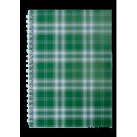 Блокнот Шотландка А5, 48 листов (верхняя спираль) клетка, зеленый