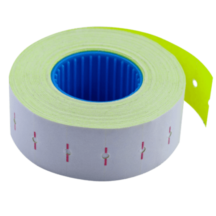 Ценник прямоугольный, внутреняя намотка 22х12мм (желтый) 1000шт./12м
