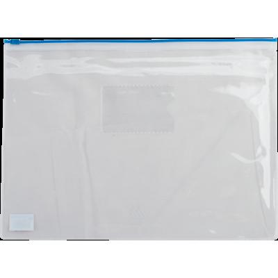 Папка-конверт на молнии прозрачная А5 (синяя) bm.3947-02