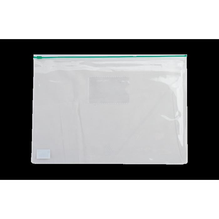 Папка-конверт на молнии прозрачная А5 (зеленая) bm.3947-04