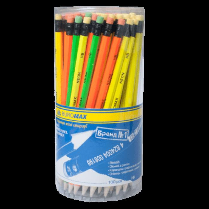 Олівець графітний з гумкою НВ Неон bm.8520 (100)