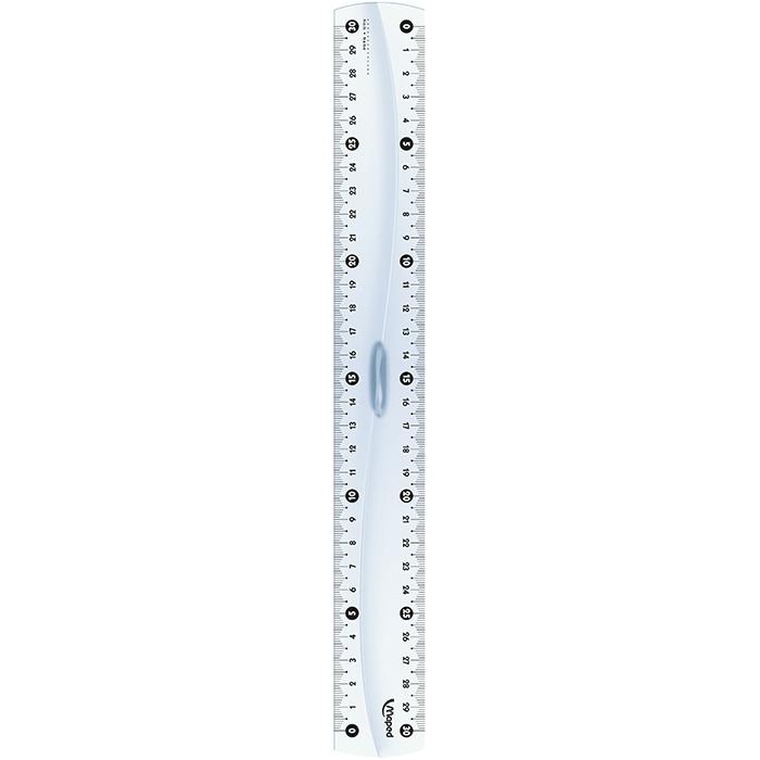 Линейка пластиковая 20см, двусторонняя шкала с держателем  MP.146108