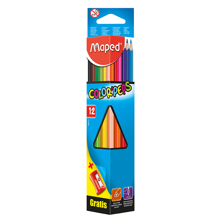 Олівці кольорові+чинка Color Peps Classic (12 кольорів)  MP.183213