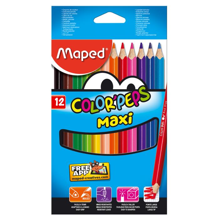 Олівці кольорові Color Peps Maxi (12 кольорів)  MP.834010