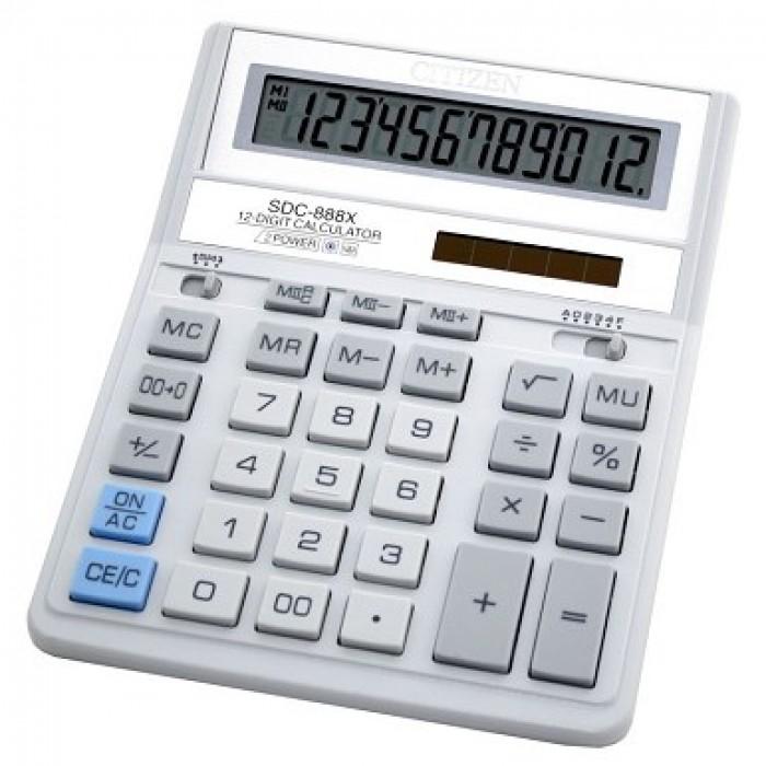 Калькулятор CITIZEN SDC-888XWH (белый), 12 разрядов