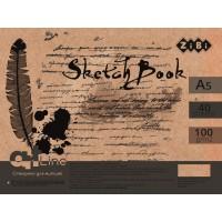Скетчбук, на пружині, кремовий блок (40 аркушів) А5  ZB.1488