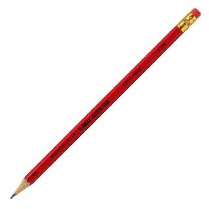 Карандаш графитный с ластиком НВ (красный корпус) 1396-3