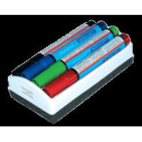 Набір маркерів для сухостираємих дошок (4 кольори)  + губка для дошки