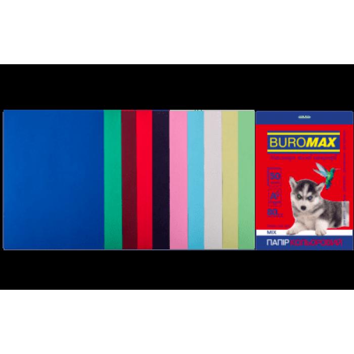 Бумага цветная Dark+Pastel (10 цветов) А4, 80г/м2, 50л.
