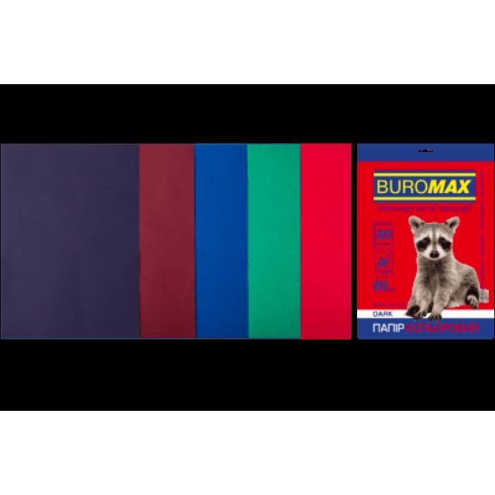 Папір кольоровий Dark Mix (5 кольорів) А4, 80г/м2, 20арк.