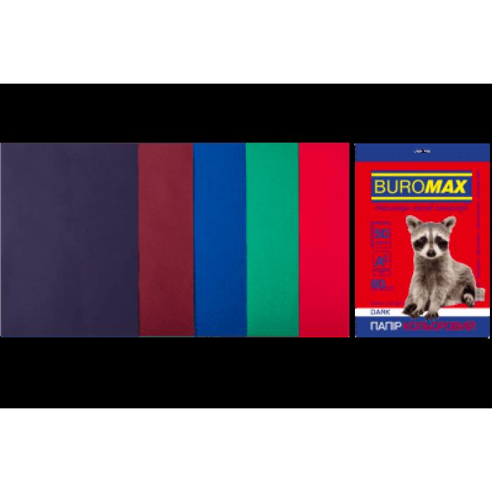 Папір кольоровий Dark Mix (5 кольорів) А4, 80г/м2, 50арк.