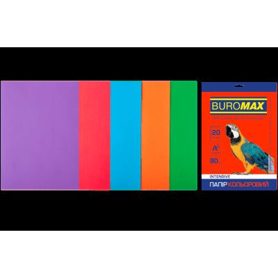 Папір кольоровий Intensiv Mix (5 кольорів) А4, 80г/м2, 20арк.