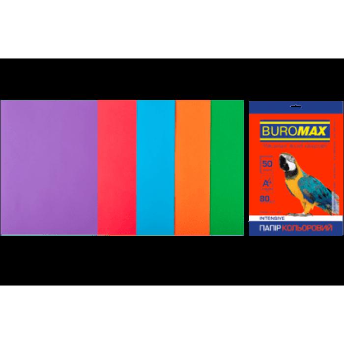 Папір кольоровий Intensiv Mix (5 кольорів) А4, 80г/м2, 50арк.