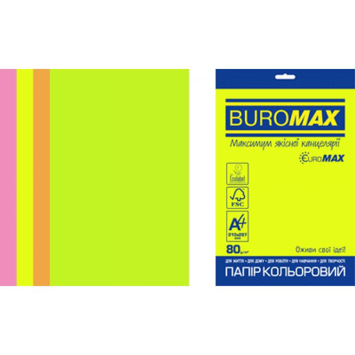 Папір кольоровий Euromax Neon Mix (4 кольори) А4, 80г/м2, 200арк