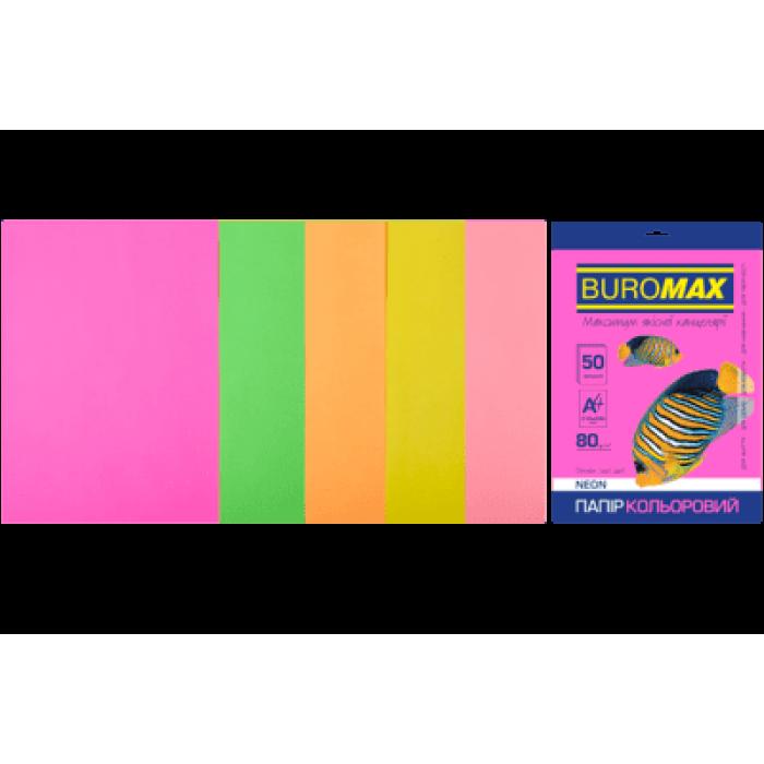 Папір кольоровий Neon Mix (5 кольорів) А4, 80г/м2, 50арк.
