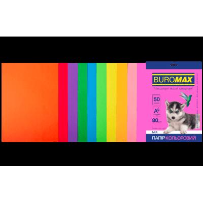 Бумага цветная Neon+Intensiv (10 цветов) А4, 80г/м2, 50л.