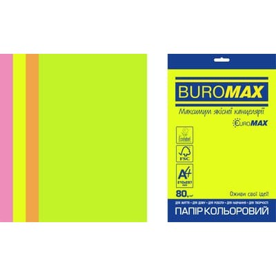 Папір кольоровий Euromax Neon Mix (4 кольори) А4, 80г/м2, 50арк.