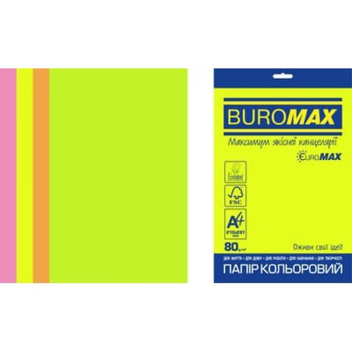 Бумага цветная Euromax Neon Mix (4 цвета) А4, 80г/м2, 50л.