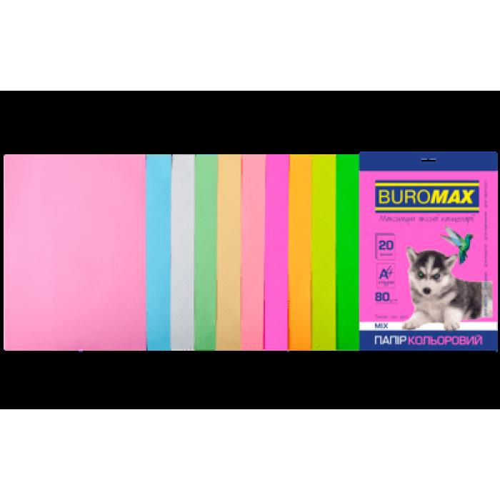 Папір кольоровий Pastel+Neon (10 кольорів) А4, 80г/м2, 20арк.