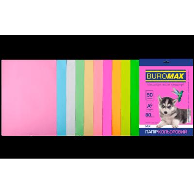 Папір кольоровий Pastel+Neon (10 кольорів) А4, 80г/м2, 50арк.