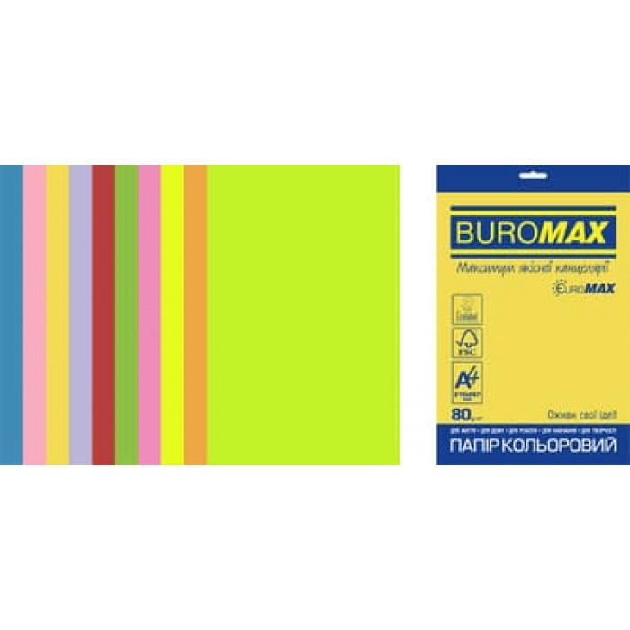 Бумага цветная Euromax Neon+Intensiv (10 цветов) А4, 80г/м2, 20л.