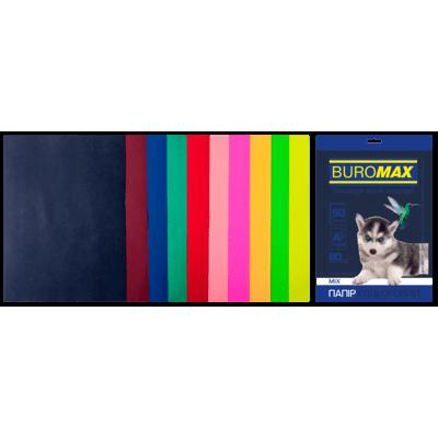 Бумага цветная Dark+Neon (10 цветов) А4, 80г/м2, 50л.