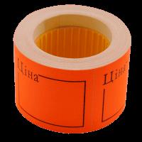 """Цінник прямокутний, зовнішнє намотування 50х40мм """"Ціна""""(помаранчевий) 150шт./6м"""
