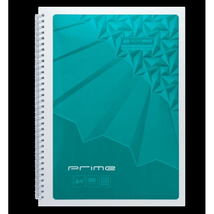 Зошит на пружині Prime А4, 96арк. (бічна спіраль) клітинка, бірюзовий bm.24451101-06