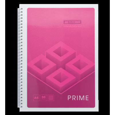 Зошит на пружині Prime А4, 96арк. (бічна спіраль) клітинка, рожевий  bm.24451101-10