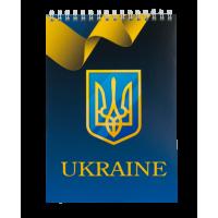 Блокнот Ukraine А5, 48 аркушів (верхня спіраль) клітинка, синій