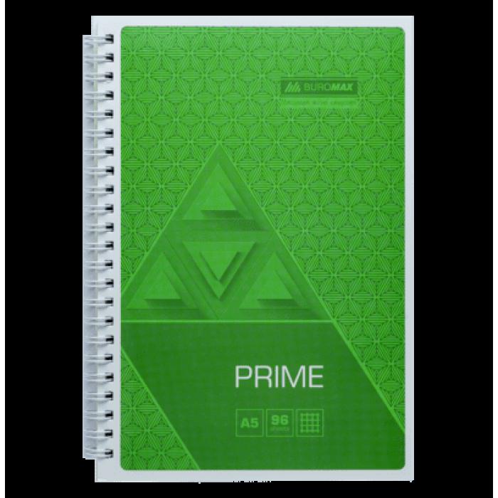 Тетрадь на пружине Prime А4, 96л. (боковая спираль) клетка, салатовый bm.24451101-15