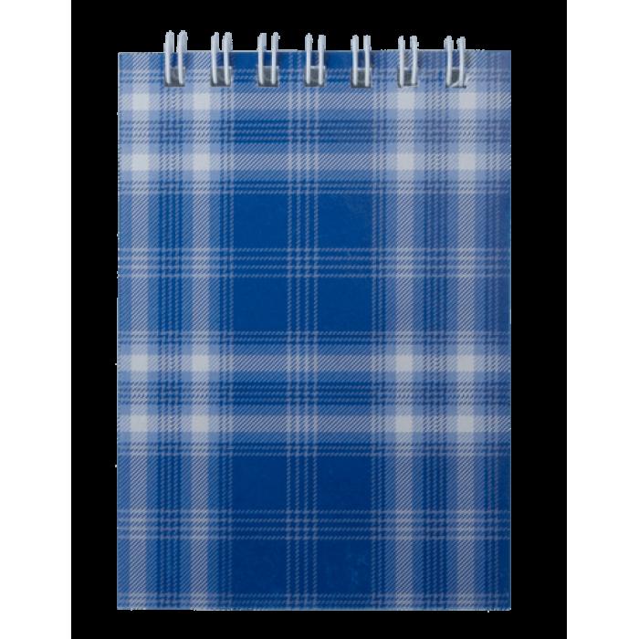 Блокнот А7, 48 аркушів (верхня спіраль) клітинка, синій