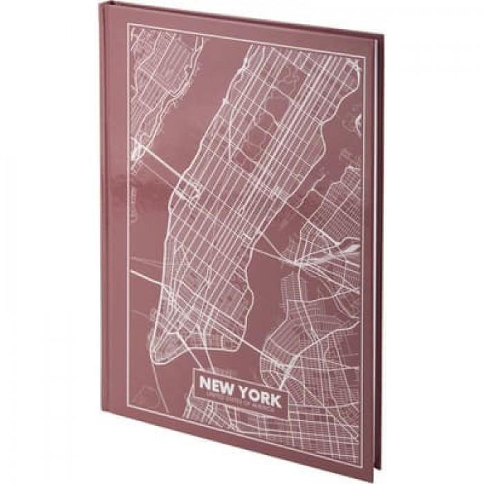 Книга канцелярская Maps New York (розово-коричневый) А4, 96 листов