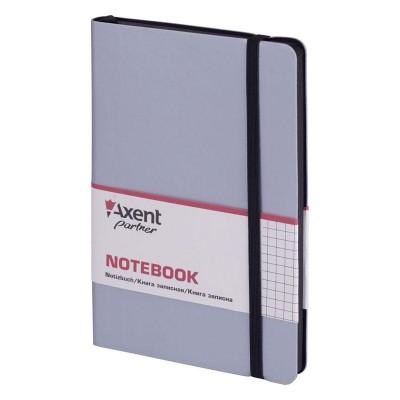 Книга записна Partner Soft 125х195мм (срібний/клітинка) 8206-34-A