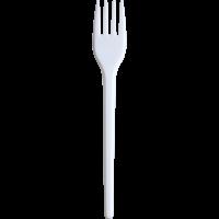 Вилка одноразовая, белая, длина 17см, 2,1гр 100 шт/упак