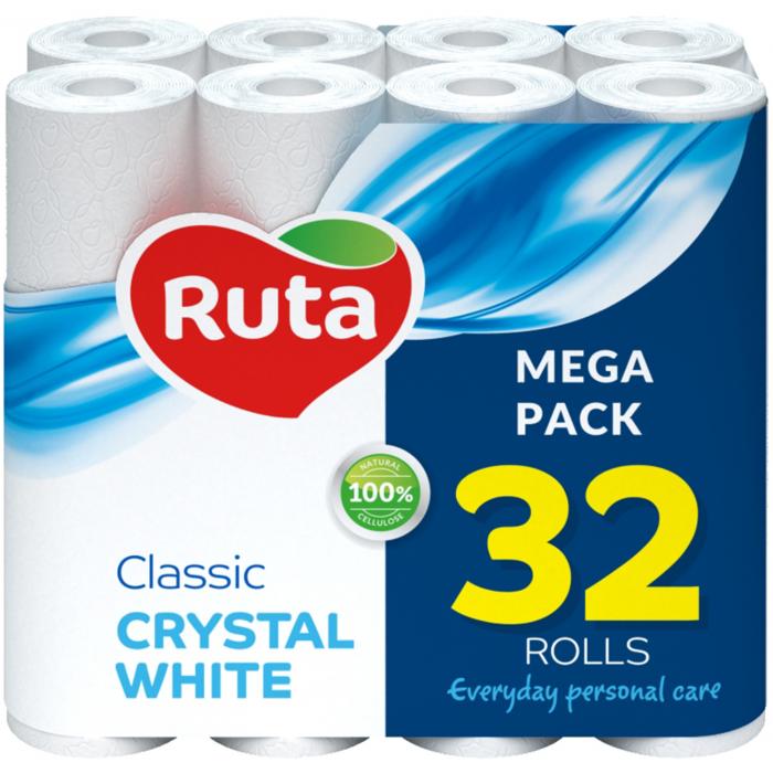 """Папір туал. """"Classic"""" 32 рул., на гільзі, 2-х шар., білий RUTA"""