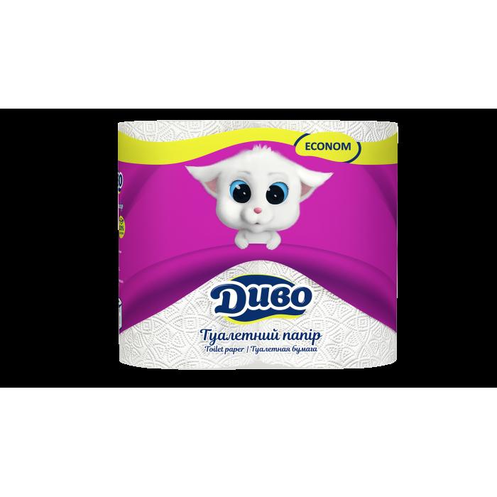 Туалетная бумага ДИВО Эконом  белая 4шт/уп
