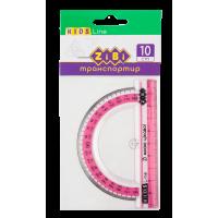Транспортир 100мм. (з рожевою смугою)  ZB.5640-10