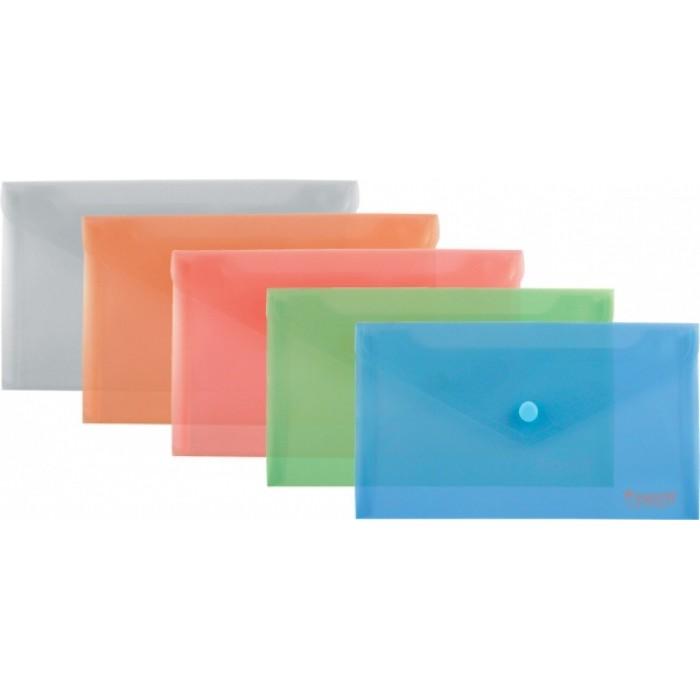 Папка-конверт на кнопке, прозрачная, DL (ассорти) 1414-20-A