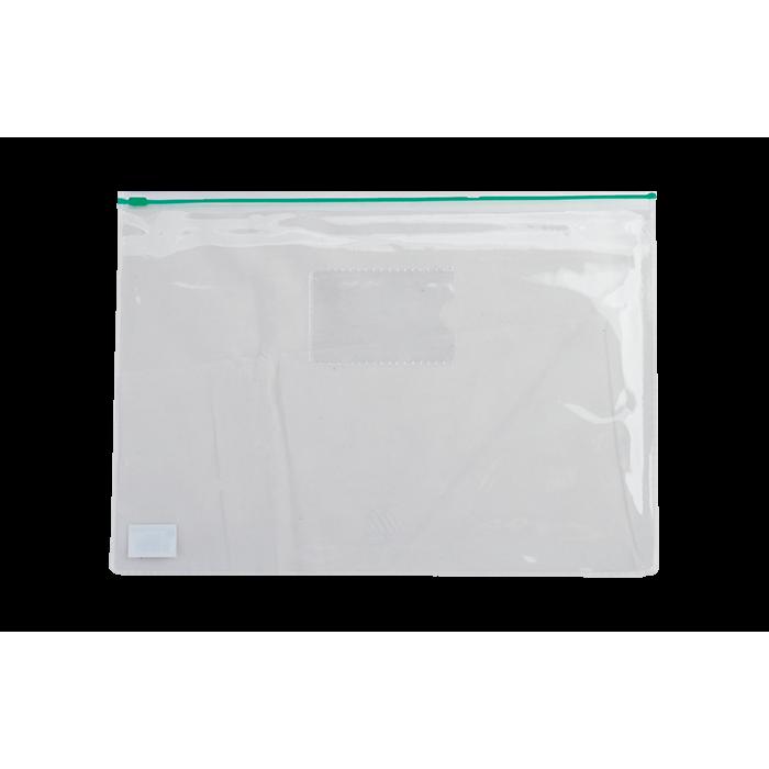 Папка-конверт на молнии прозрачная А4 (зеленая) bm.3946-04