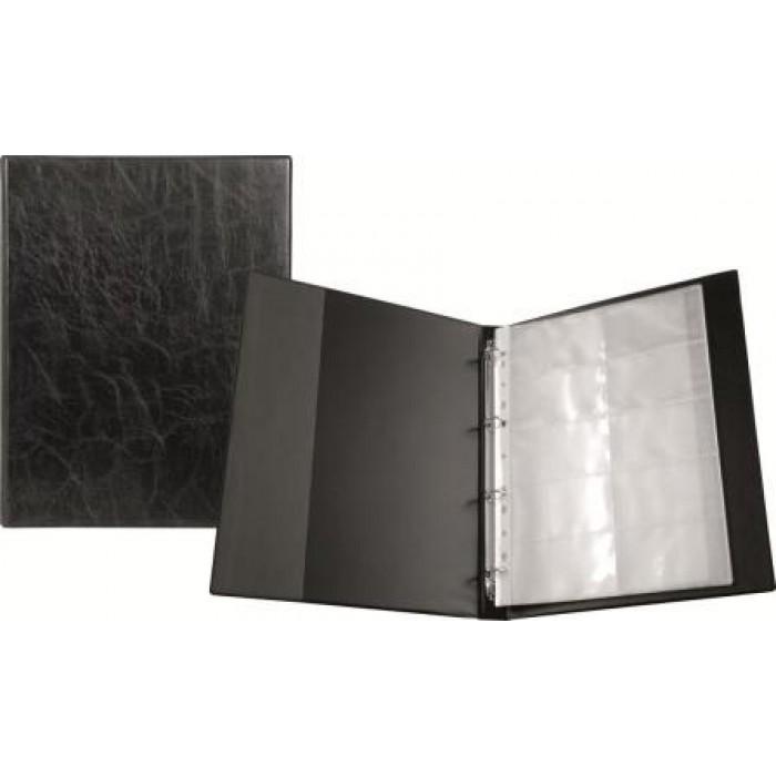 Визитница на кольцах на 200 визиток (черный) 2504-01-A