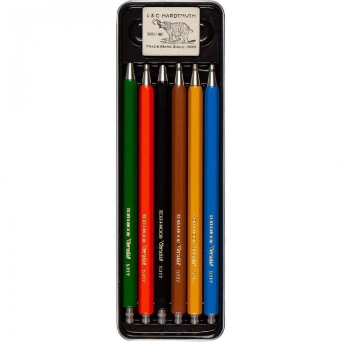 Набор цанговых карандашей (6шт) в металлическом пенале Diamond Pencils
